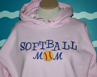 Softball Mom Hoodie Sweatshirt - Embroidered mom Sweatshirt - Custom softball hooded sweatshirt - Mom Gift - Personalized gift