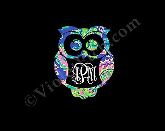 Yeti Cup Decal-Owl Monogram Decal-Lilly Owl Decal-Vine Monogram Decal-Window Decal-Yeti Vine Monogram Decal