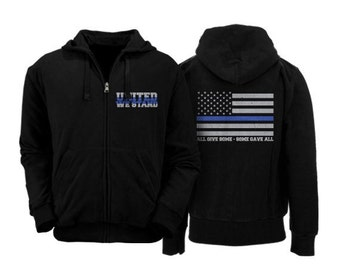 SALE!!! 25% OFF Thin Blue Line full zipper hoodie support police