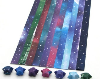 Galaxy Stars Origami Lucky Star Paper Strips Multicolor - Pack of 80 Strips