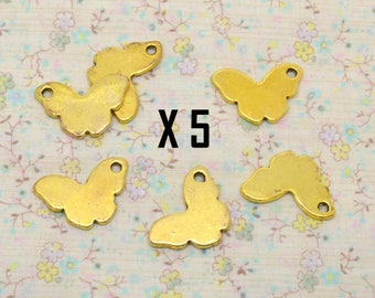 5 x Butterfly insect charm symmetrical gold metal 15mm / 25mm