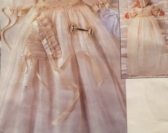 Vintage Vogue American Designer Strasburg Heirloom Collection Infant Christening Gown and Bonnet Sizes NB-S-M & L-XL  Pattern 1755