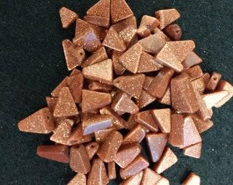 Vintage Brown Goldstone Variety Triangles