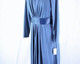 Vintage 1970's Blue Knit Dress, NWT, Modern Size 10, Medium