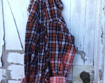 XL Orange Black Faded Vintage Wash Flannel