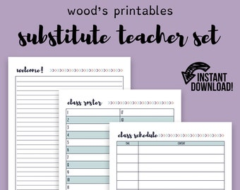Substitute Teacher Set; Teaching Planner, Teacher Organization, Teacher Printable, Teacher Lesson Planner, Lesson Plan, Lesson Plan Book
