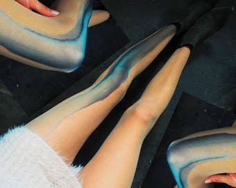 blue gray Ombre tights