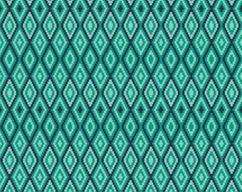 Aztec Teal Diamond Fabric, Riley Blake La Vie Boheme C4746 Teal, The Quilted Fish, Teal Fabric, Aqua Cotton Fabric, Quilting Cotton Yardage