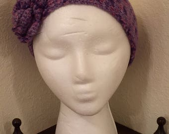 Ear Warmers, Headband, Knitted Ear Warmer, Winter Headband,Variegated purples, Knitted Headband Ear Warmer