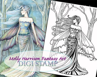 Eternity - Digital Stamp - Printable - Ethereal Fairy Art - Molly Harrison Fantasy Art - Digistamp Coloring Page