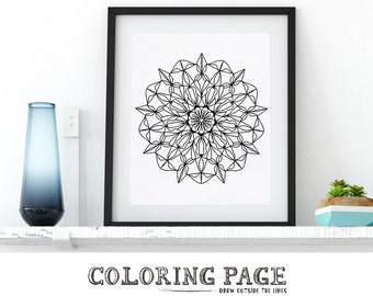 Instant Download Coloring Page Printable Mandala Floral Zentangle Adult Coloring Page Anti Stress Art Therapy Art Zen Digital Printable Art
