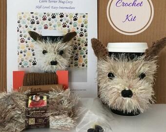 Crocheter Gift, Crochet Kit for Cairn Terrier Mug Cozy, Amigurumi Kit, Gift for Crocheter, Crocheting Gift, Crochet Gifts, Dog Mug Cozies