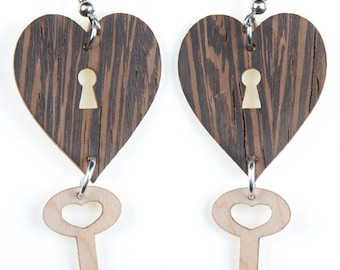 Heart with Key Jewelry, Laser Cut, Wood Earring