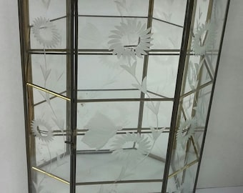 Vintage Glass & Brass Faceted Curio Cabinet, Hexagon, Mirrored, Etched Flowers