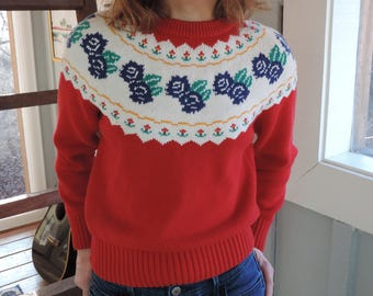 Red Vintage sweater Blue rose accents