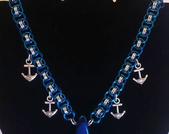 Chainmail Blue Silver Anchors Stone Necklace - Helm Weave, Nautical, Aquatic, Chain Mail, Chainmaille, Chain Maille
