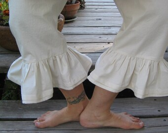 Boho chic pants, Bloomers, womens bloomers, white bloomers, black bloomers, natural muslin bloomers, handmade bloomers