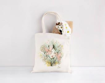 FLORA - Bolsa Tote Elibasanta, Chica y plantas Bolsa Tote, bolsa tote impresión digital, bolso de tela orgánica, bolsa algodón elibasanta