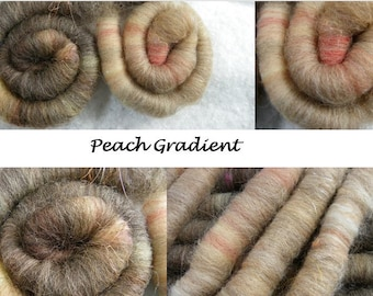 Rolags for Spinning Peach Gradient Hand-dyed Wool Merino Corriedale Shetland  Angelina