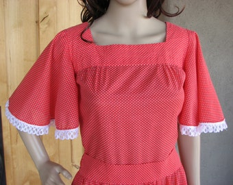 Vintage Red Dotted Swiss Square Dance Dress, Rockabilly Dress, Cowgirl Dress, Western Wear Dress, Western Dance Dress