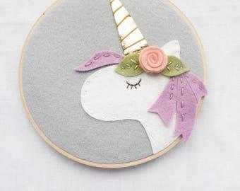 Unicorn Mom Gift. Mother's Day Gift. Unicorn Kids. Bohemian Wall Art. Boho Baby. Felt Embroidery Hoop Art. Unicorn with Felt Flower