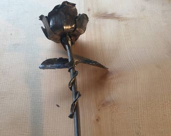 Hand forged steel rose flower