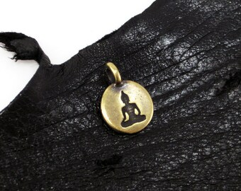 NEW TierraCast Tiny Brass Oxide Buddha Disk Charm *YOU Collection*