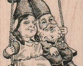 Rubber stamp Swinging Gnomes   stamping  scrapbooking supplies  17921 hobbit