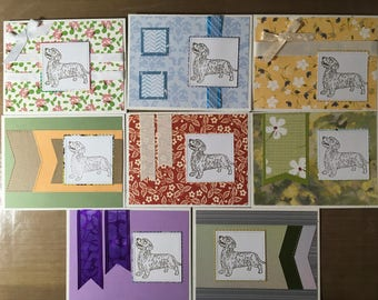 Set of 8 Wirehair Dachshund Blank Notecards #7