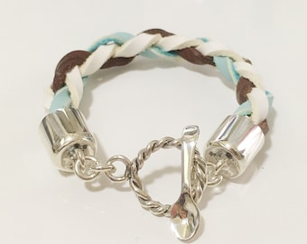 Silver and mint chocolate colored leather Bracelet