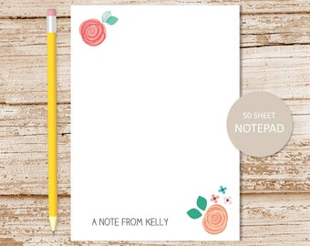 personalized floral notepad . floral whimsy note pad . womens personalized stationery . botanical stationary . floral notepad