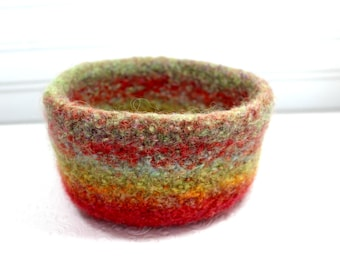Orange Wool Felted Bowl, Green, Yellow and Orange Wool Felt Bowl, Knit Felt Wool Bowl, Striped Felted Wool Bowl, Felted Wool Home Decor Bowl