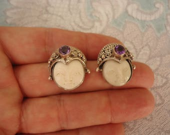 Vintage Sterling Silver Earrings, Pierced Post, Carved Bone Faces w/ Sterling and Amethyst Stones