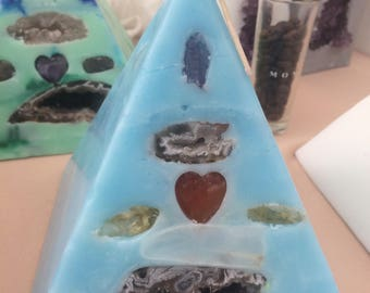 Crystal Candle ~ Sky Blue Pyramid Candle w/ inlaid Amethyst, Crystal Quartz, Citrine, and Carnelian that illuminate when lit!