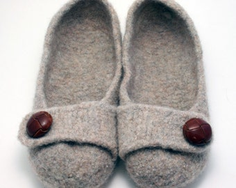 Custom Order- Women's Felted Slippers-  Color of Choice with Button of Choice