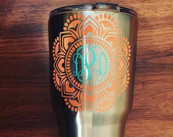 Mandala Monogram / Mandala Decal / Mandala Sticker / Yeti Decal / Mandala Yeti Decal / Monogram Mandala Decal / Mandala Monogram Decal