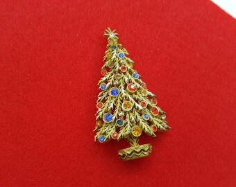 ART signed Frosty Fir Tree Brooch Seasonal Holiday Christmas Tree A