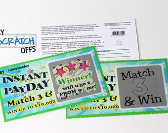Scratch Off Lotto Replica Promposal Prom Scratch-Off Game Card~ 3 tickets