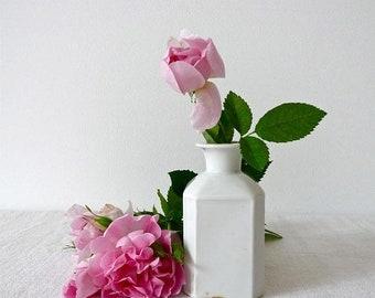 50% DISCOUNT French Antique Perfume Bottle - French Vanity - French Boudoir Flask Flacon - White Porcelain - Bottle Old Paris