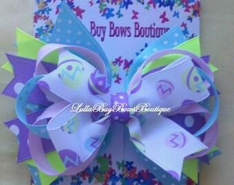 Large Easter Egg Print Toddler Bow