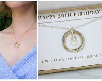30th birthday gift, June birthstone necklace 30th, moonstone necklace for 30th birthday, daughter, girlfriend - Lilia