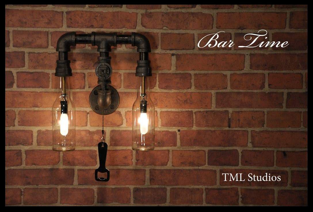 Bar time industrial plumbing pipe beer bottle wall sconce zoom mozeypictures Images