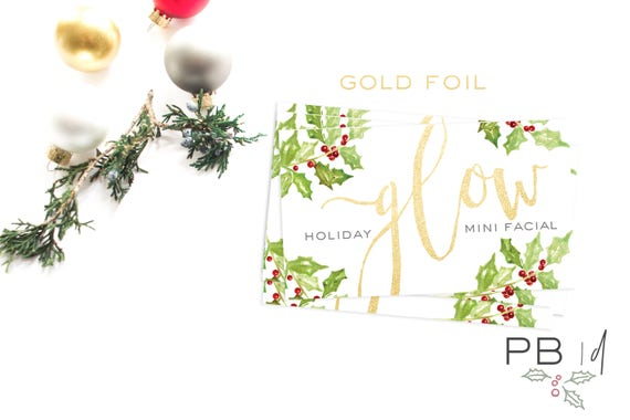 Holiday GLOW Mini Facial Card (25 cards) | Skincare, Rodan+Fields, gift, teacher, friend, co-worker, Santa, vintage, chapstick, lip balm