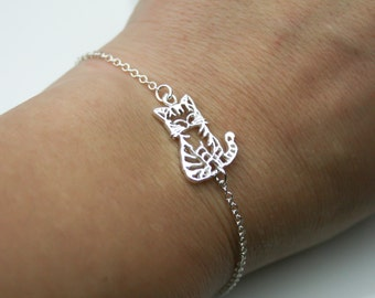 Cat Bracelet in Sterling Silver