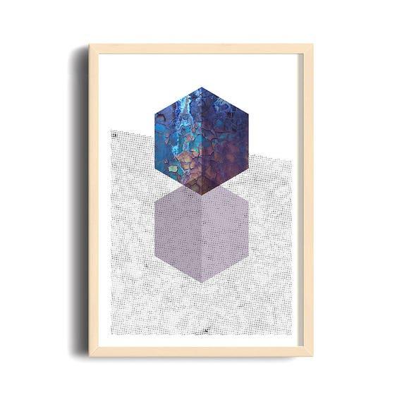 ROUGH DIAMONDS // poster, Abstract art, 12x18, minimalist art print, geometric, mid century, Scandinavian style, purple, diamond, 90s