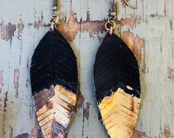 Feather Earrings, Boho Earrings, Leaf earrings, Leather Earrings, Dangle Earrings, Boho Gypsy Earrings,  Gold earrings, black earrings, OOAK