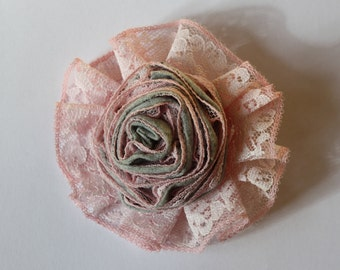 Pink Lace Flower Brooch