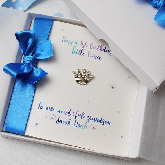 Luxury little prince first birthday card personalised like this item bookmarktalkfo Image collections