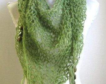 Emerald Green Shawl / Hand Knit Shawl with Gemstones / Handspun Wool Triangle Wrap / Spring Green Wasabi / Loose Knit Boho Shawl