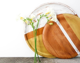 Modern Home Decor - Gold and White - Round Wooden Tray - 2 - Display Plate